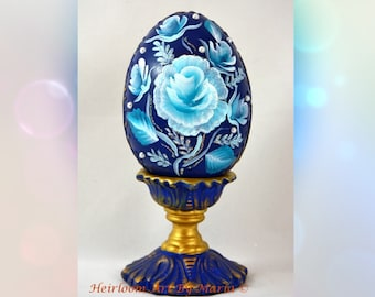 Rose victorian easter eggeaster decorations easter egg with easter egg royal blue decorative easter gift roseantique gold filigree pearl negle Gallery