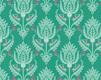 Primavera Damask in Teal Cotton Fabric by Patty Young for Riley Blake
