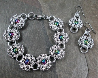 Chainmaille Jewelry Set - Romanov Weave - Rainbow Chainmaille - Chainmaille Jewelry - Bracelet and Earrings - Made to Order
