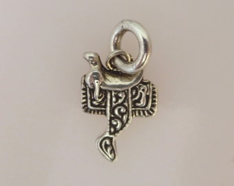 Sterling Silver Small SADDLE Charm Pendant Equestrian Equine Tack Horse Riding Horseback Rodeo Cowboy .925 Sterling Silver New hs02