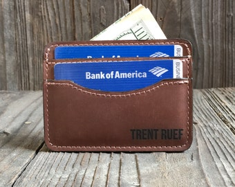 Slim Leather Wallet - Engraved Wallet - Credit Card Holder - Crazy Horse