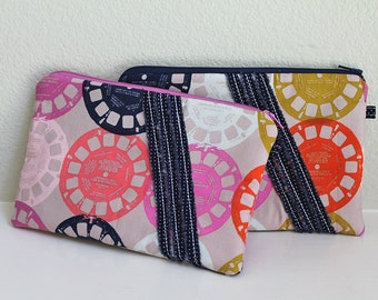 Small zipper pouch, credit card cash wallet, zipper clutch, Purple Navy Gold coral purse, Vintage View Master toy, Padded ruffle front