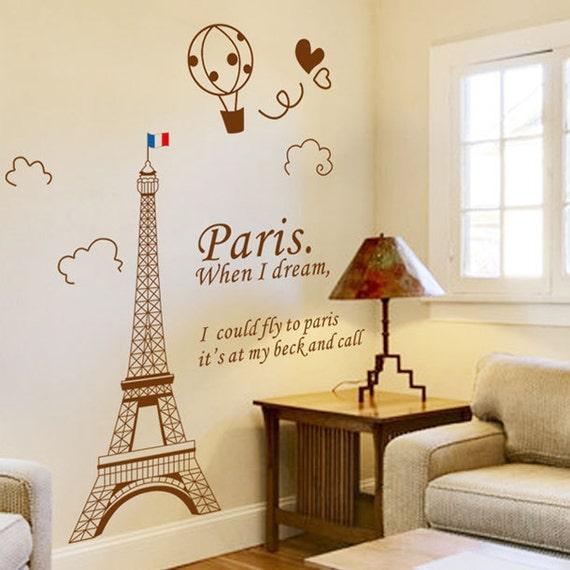 Paris Eiffel Tower Wall Decal Wall Sticker Wall decor Vinyl Stickers ...