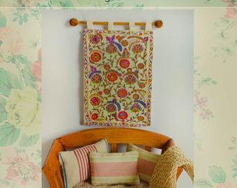 Miniature silk suzani, wall textile,
