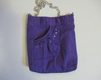 Upcycled Soft Purple Crossbody Cellphone Bag