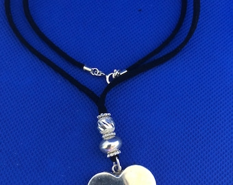 Sterling Silver Heart and Balls Necklace suede