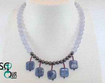 Natural gems - chalcedony, kyanite, Hematite necklace