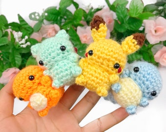 Pokemon Amigurumi -  Pokemon Plush - Charmander Plush - Squirtle Plush - Bulbasaur Plush - Mini Amigurumi