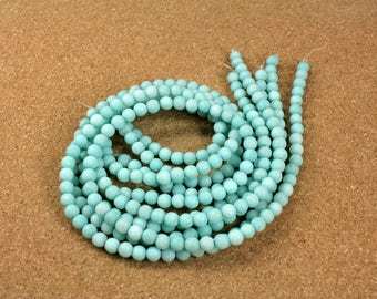 "Amazonite Round Matte Beads - Smooth Teal Beads, 6mm, 16"" strand"