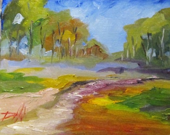 Woodland Trail landscape contemporary oil painting Art by Dleilah
