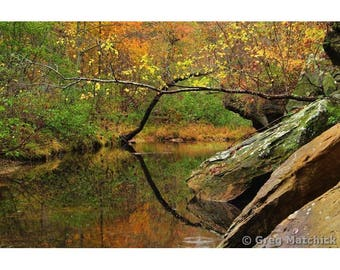 "Fine Art Color Nature Landscape Photography of Hawn State Park in Missouri - ""Autumn Serenity on Pickle Creek 2"""