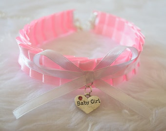 Baby Girl Heart Pink Ruffled Ribbon Choker Ddlg BDSM Collar Necklace Slave Lolita Age Play Kinky Submissive Fetish Princess Daddy Sub ABDL