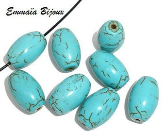 5 beads Howlite turquoise natural stone 17 x 11 mm