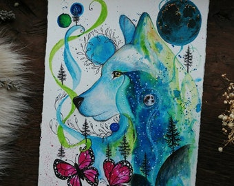 Magic Wolf, Animal Spirit, original painting, animal art, gift idea