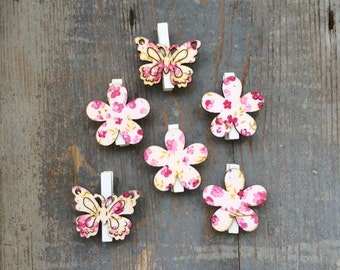 White and Pink Flower Butterfly clip 6