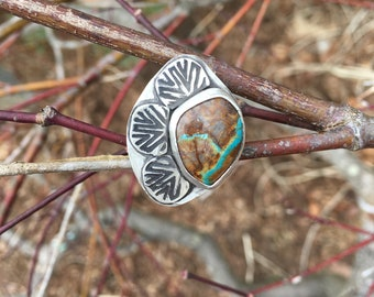 Royston Turquoise Sterling Silver Ring with Stamped Design