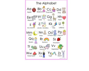 Digital Abc poster, Alphabet poster, ABC print, poster, ABC poster, instant download, alphabet chart, alphabet, print, kids, digital file