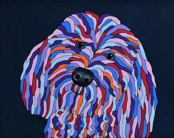 Labradoodle Dog - original abstract acrylic painting