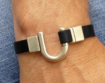 Mens Black Leather Cuff Bracelet, Silver Hook Bracelet, U Hook Bracelet, Silver and Leather Bracelet for Men, Husband Gift, Boyfriend Gift