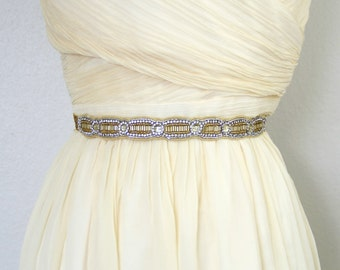 Antique Gold or Vintage Gold Beaded Lace Skinny Elastic Belt, Gold Rhinestone Belt, Wedding Belt, Elastic Belt