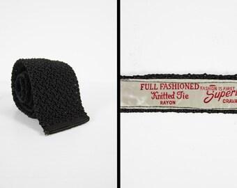 Vintage 1940s Black Knit Necktie Rayon Crochet Superba Square Men's Tie