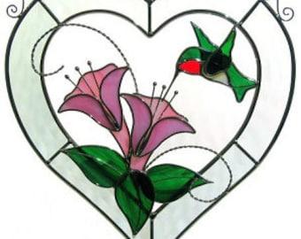 Stained Glass 3D Hummingbird Bevel Heart  Sun Catcher/Wall Hanging