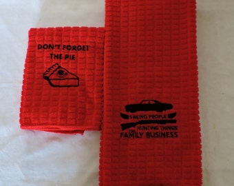 RTS SUPERNATURAL RED  Embroidered Hand Towel & washcloth set Saving people, Hunting things Family business Sam/Dean  don't forget the pie
