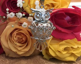 Silver Owl shaped Filigree locket Aromatherapy Essential Oil Diffuser Necklace  chain  Birthday Ready to ship  lava stone Wool Ball