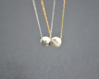 White Howlite Necklace | Marble Ball Pendant | Dainty Marble Jewellery