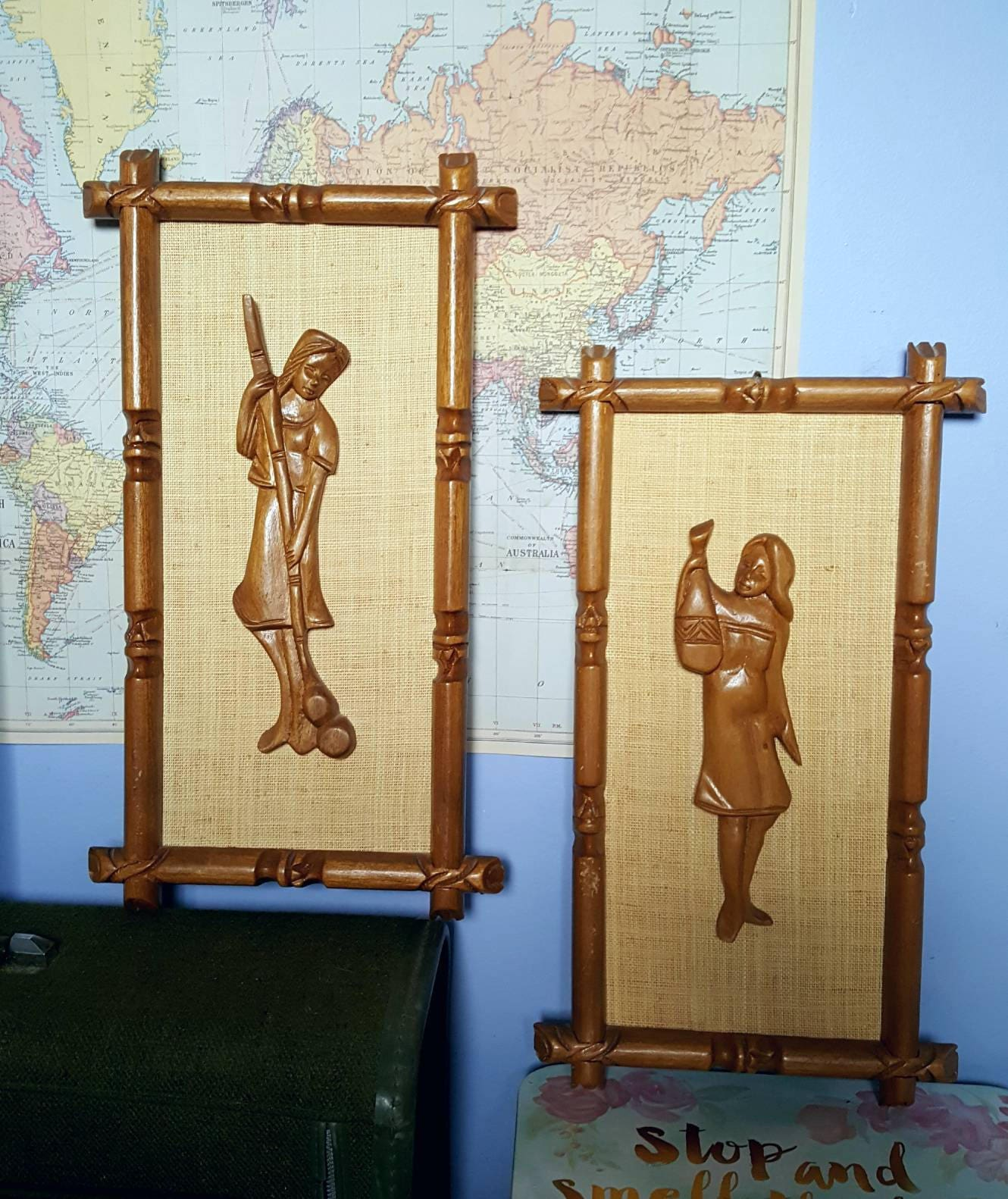 Pair of Mid Century Tiki Wall Art Pictures Polynesian Wall