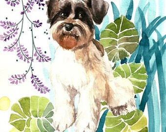 Schnauzer Watercolor, Schnauzer Print, Schnauzer Art, Dog Nursery