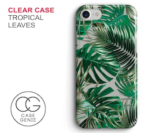 Tropical Leaves Clear Phone Case for iPhone X, 8 Plus, 7, 6, 6s Cell Phone Cover Clear and Frosted Transparent Palm Banana Leaf Jungle DES1