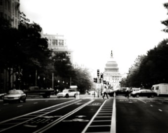 """Washington DC, Art, Black and White Photography, Capitol Building, Capitol Dome, Washington Print, DC Wall Art - """"Headed for the Hill"""""""