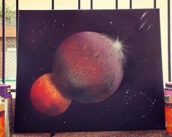 Planets / spraypaint / canvas