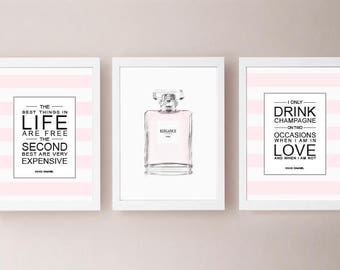 Coco Chanel Quote Pictures 3-er set blogger Impressions gift S002