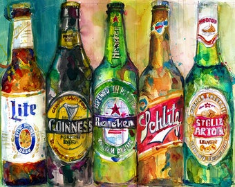 New Miller Lite - Guinness - Heineken - Schlitz - Stella Artois  - Beer - cave  Man - Original Beer Pring