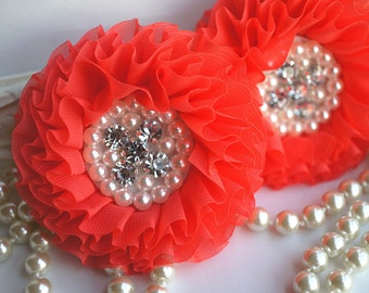 Set of 2 - Dark Coral Beaded Fabric Flowers -Coral Fabric Flower - Chiffon Beaded Flower - Parisian Chiffon Flowers
