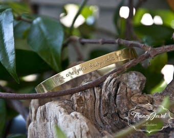 Engraved cuff, handwriting bracelet, engraving cuff, custom writing, custom jewelry, personalized jewel, made in Italy, brass cuff, handmade