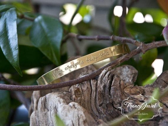 Engraved cuff, handwriting bracelet, engraving cuff, custom writing, custom jewelry, personalized jewel, made in Italy, brass cuff, handmade