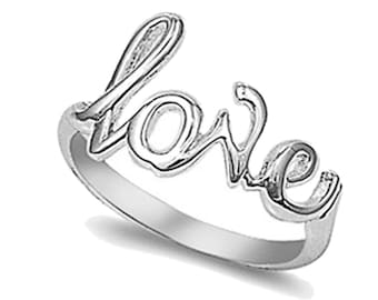 Women Sterling Silver Love Ring 7mm / Free Gift Box(SNRP141246)