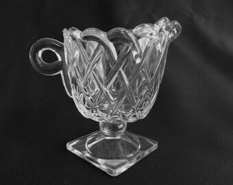 Vintage INDIANA GLASS Square Footed Creamer, Pretzel Pattern, (1532)