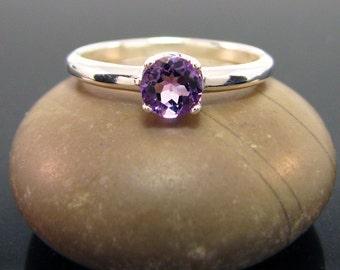 february birthstone, Amethyst Ring, amethyst ring sterling silver, genuine amethyst ring ring amethyst size 7 silver ring 5 mm