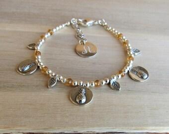 Pineapple Bracelet, Tropical Beach Jewelry, Charm Bracelet, Leaf Bracelet, Engraved Pendant, Beaded Silver Stacking Bracelet, Stand Tall