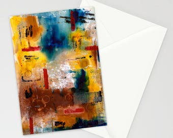 "Mixed Media Abstract in Browns 5""x7"" Blank Greeting Card with Envelope, Mixed Media Art, All Occasion Card, Abstract, Masculine, Stationery"
