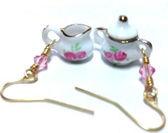 Teacup Earrings, Miniature Teacups, Porcelain Teacup, Alice in Wonderland