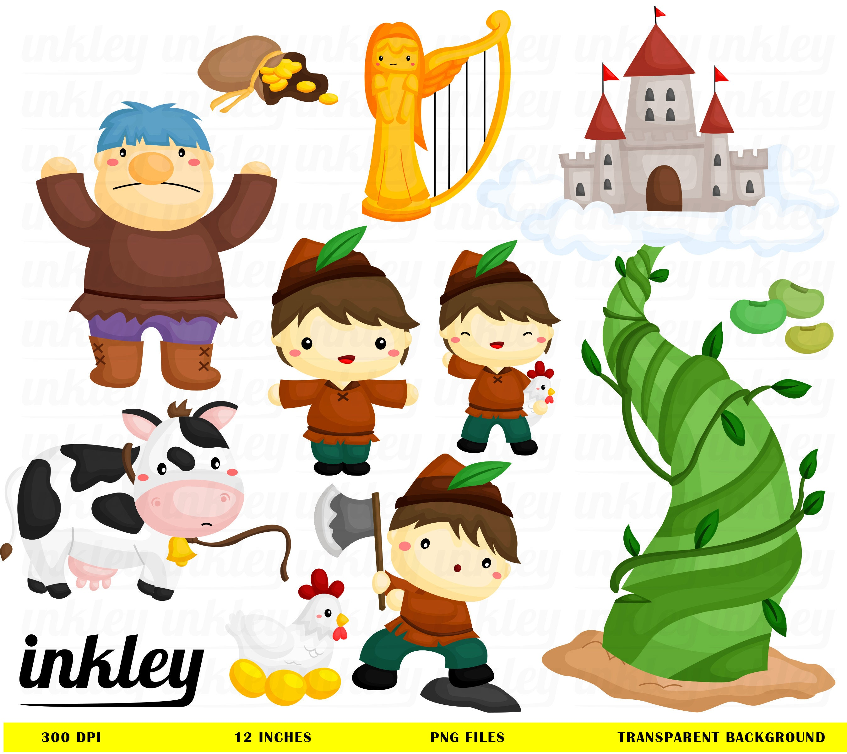 jack and the beanstalk clipart jack and the beanstalk clip rh etsy com jack and the beanstalk castle clipart Three Little Pigs Clip Art