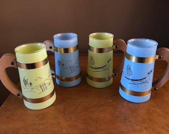 4 Vintage Siesta Ware mugs Tiki pattern Blue and Yellow