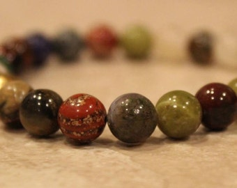 Natural gemstones beaded bracelet Buddha yoga jewelry, mothers day gift, gift for her