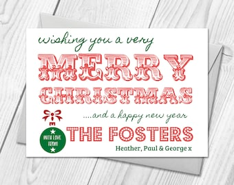 Personalised Pack of Christmas Cards | Merry Christmas Postcards & Envelopes