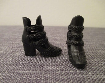 Barbie®accessory barbie black buckle booties fashionista add ons